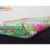 Fruit Print Single Kantha Bedspread Twin Quilt Parrot Green Color Indian New Traditional Fruit Print Kantha Quilts/Gudri