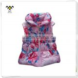 factory printed girl sleeveless winter jacket for baby