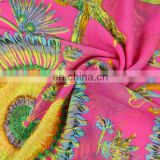 Feather printed dark pink color polyester chiffon style cappa for season (WPC13-014DL)