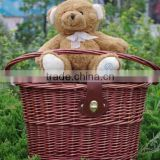 Wicker bicycle basket with lid
