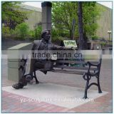 Landscape City Square Modern Life Size Bronze Sitting Man Statue for sale