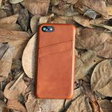Cognac leather case phone with card slots