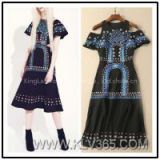 European Fashion Style Women Embroidery Long Maxi Party Dress