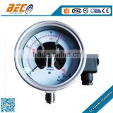 (YBX-100A) 100mm common size red and blue pointer bottom thread high pressure electric contact manometer gauge