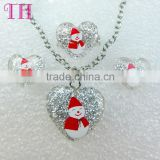 2016 top selling Father Christmas design young girl earring costume locket jewelry set for lady