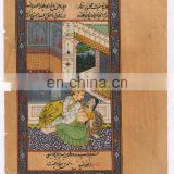 Indian Mughal Miniature Watercolor Original Wall Hanging Ethnic Mugal Harem Scene