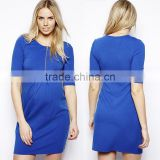 hot sale wholesale maternity clothes,front zip pleated maternity clothes,elbow sleeve front tunic dress