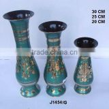 Indian Vase made in Cast Brass with traditional green paint other color options can be done on order
