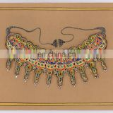 Traditional Women Jewellery Water Color Painting With Original Gold Work Hand Painted Art