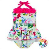 Lovely Kids Swimsuit Models Fancy Florals Ruffles Kids One Piece Swimsuit