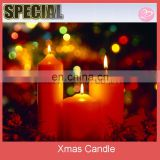 Red color Christmas pillar candle decoration