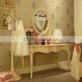 French style wooden carved ivory antique finished vanity makeup dresser with mirror - BF07-70357D