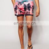 swimming shorts - board shorts - Custom man shorts burgundy florist swim trunks print man fashion beach shorts