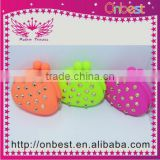 cute silicone heart shape coin purse for charming ladies