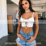 Amigo 2017 new design red strap sexy XXX warp chest bandage crop top for big boobs women