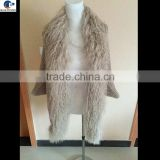 Free size ladies mohair knitted bat wing fashion wraps vest with Tibet fur collar front fly