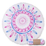 1500mm extra large round beach towels with tassels/custom printed pattern round beach towles