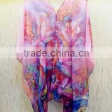 5 colors Soft Chiffon Floral Printed Scarf Sarongs Lady Beach Wear Scarf Wraps with good price