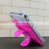lovely pink silicone phone accessories ,back card sets brackets for mobile phone