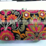 Designer Embroidered multicolour clutch bag