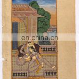 Mughal Harem Miniature Erotic Scene Ethnic Hand Painted Painting Water Color Paper Painting