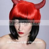 Cheap synthetic Red color party witch hair wig, devil wigs with horns