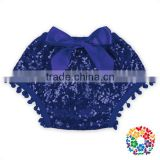 Royal Blue Cotton Sequins POM Pom Bow Diaper Covers for baby baby diaper cover bloomers