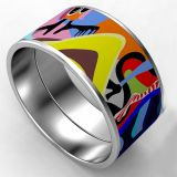 Metal Multi Color Stainless Steel Enamel Bangle With Glitter