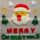 OEM Wholesale Customized Design Magic Removable Santa Claus Christmas Tree Jelly gel gems Art Glass Window Sticker Decoration