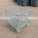 Large loading capacity foldable stackable and movable metal rolling wire basket