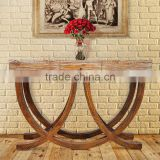 Furniture Console Table Art Deco Style Teak Wood White Wash