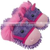 pink purple multi-color plush fuzzy unicorn knitted fabric slippers