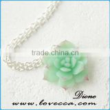 Wedding Bridal Jewelry Flower Necklace Green Mint Succulent Necklace