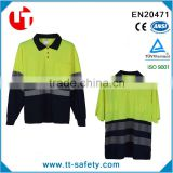 cheap 100% polyester high reflective safety 2 tone color polo shirts for man