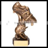 Custom factory direct resin soccer awards trophy soccer shoes trophy