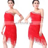 BestDance latin dance costume dress one-shoulder sleeveless ballroom dance dress latin tassel dress skirts OEM