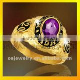 nickle free designer gold plated jewelry college class ring 3D design ring paypal acceptable
