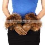 New design fashion beauty with natural raccoon fur camel sheepskin leather gloves