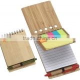 Promotion bamboo wood cover metal spiral notebook made in China
