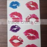 2016 best seller eco-friendly best quality temporary lip tattoo sticker