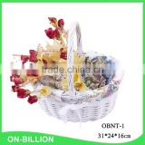 Wholesale white wicker woven wedding basket for decoration