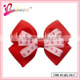 The best Valentine's day gift for girlfriend handmade red heart ribbon bow hair clip (QRJ-0017)