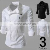 new men s casual slant buckle personality embroidered deer tooling long sleeved shirt