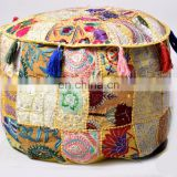 Indian Latest Patchwork Embroidery Design Ottoman Pouf Cover Round Traditional Footstool Cover