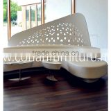 modular acrylic solid surface Glacier white waiting bench chair