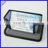 Office desktop black wire metal mesh business name card holder