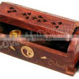 MINI CARVED WOOD COFFIN INCENSE BURNER
