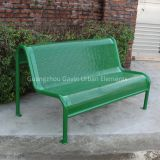 Powder coated steel perforated park bench backed bench