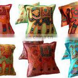 Elephant Indian Applique Cushion Cover Embroidery Patchwork Decor Pillow Covers 16 Embroidered Ethnic decorative Vintage cases