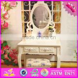 2016 wholesale high quality bedroom solid wooden white vanity table W08H061